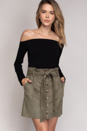 Naked Zebra Faux Suede Button Down Paper Bag Skirt - Product Mini Image