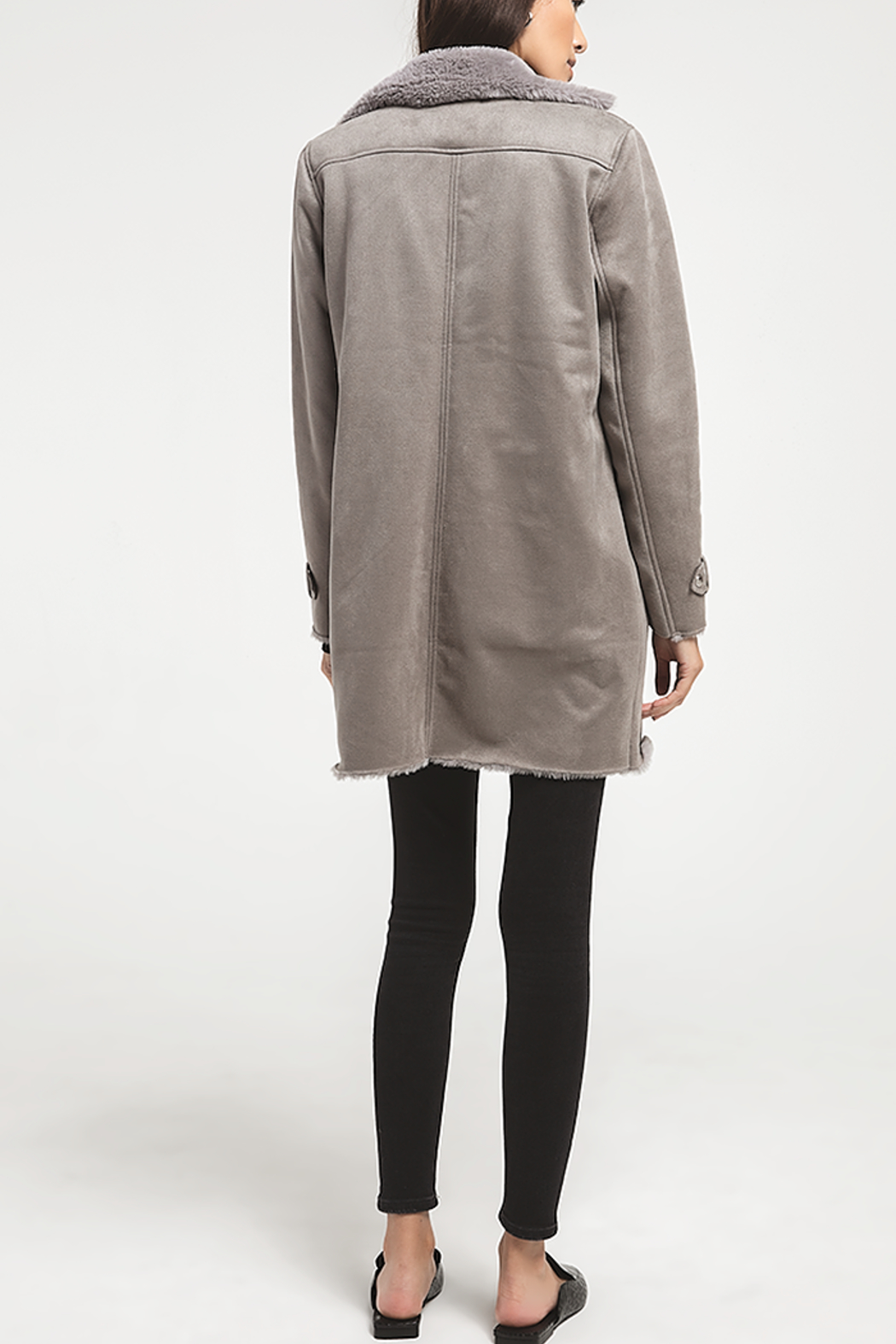 rag poets Faux Suede Coat - Side Cropped Image
