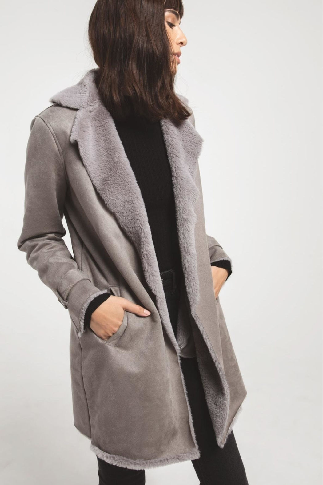 rag poets Faux Suede Coat - Front Cropped Image