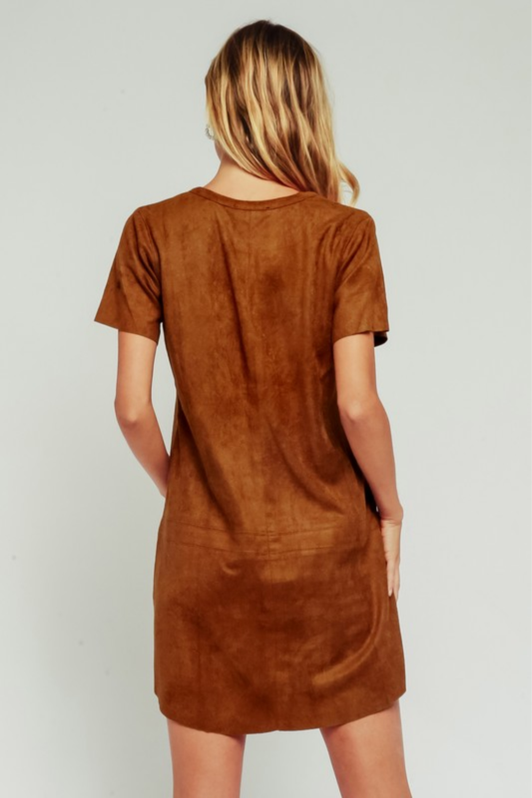 Olivaceous Faux Suede Dress - Side Cropped Image