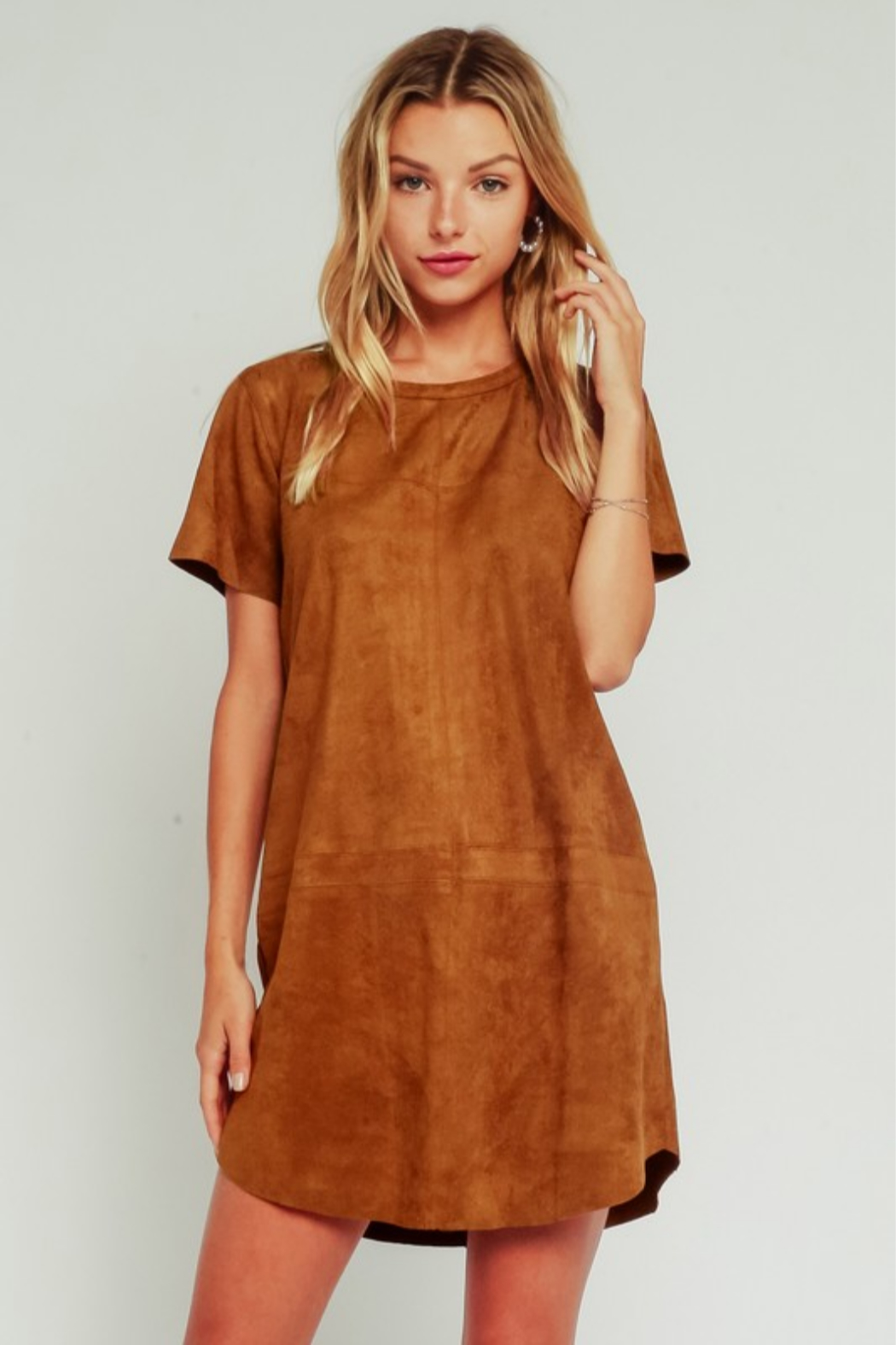 Olivaceous Faux Suede Dress - Front Cropped Image