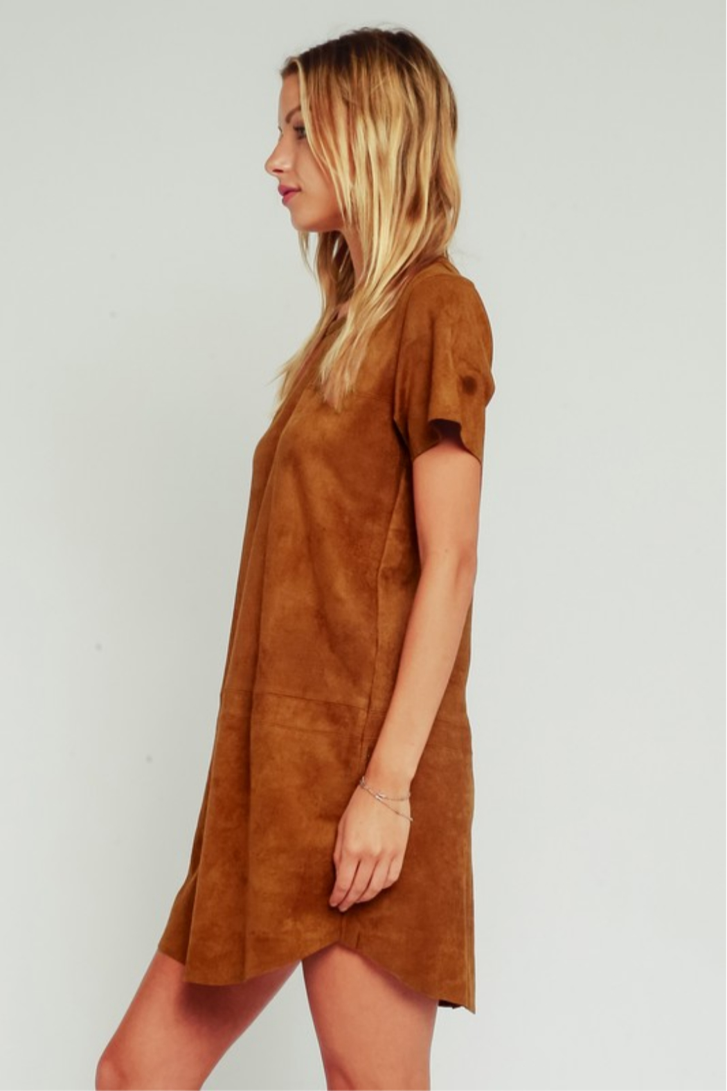 Olivaceous Faux Suede Dress - Front Full Image