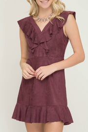She + Sky Faux Suede Fit & Flare Ruffle Dress - Product Mini Image