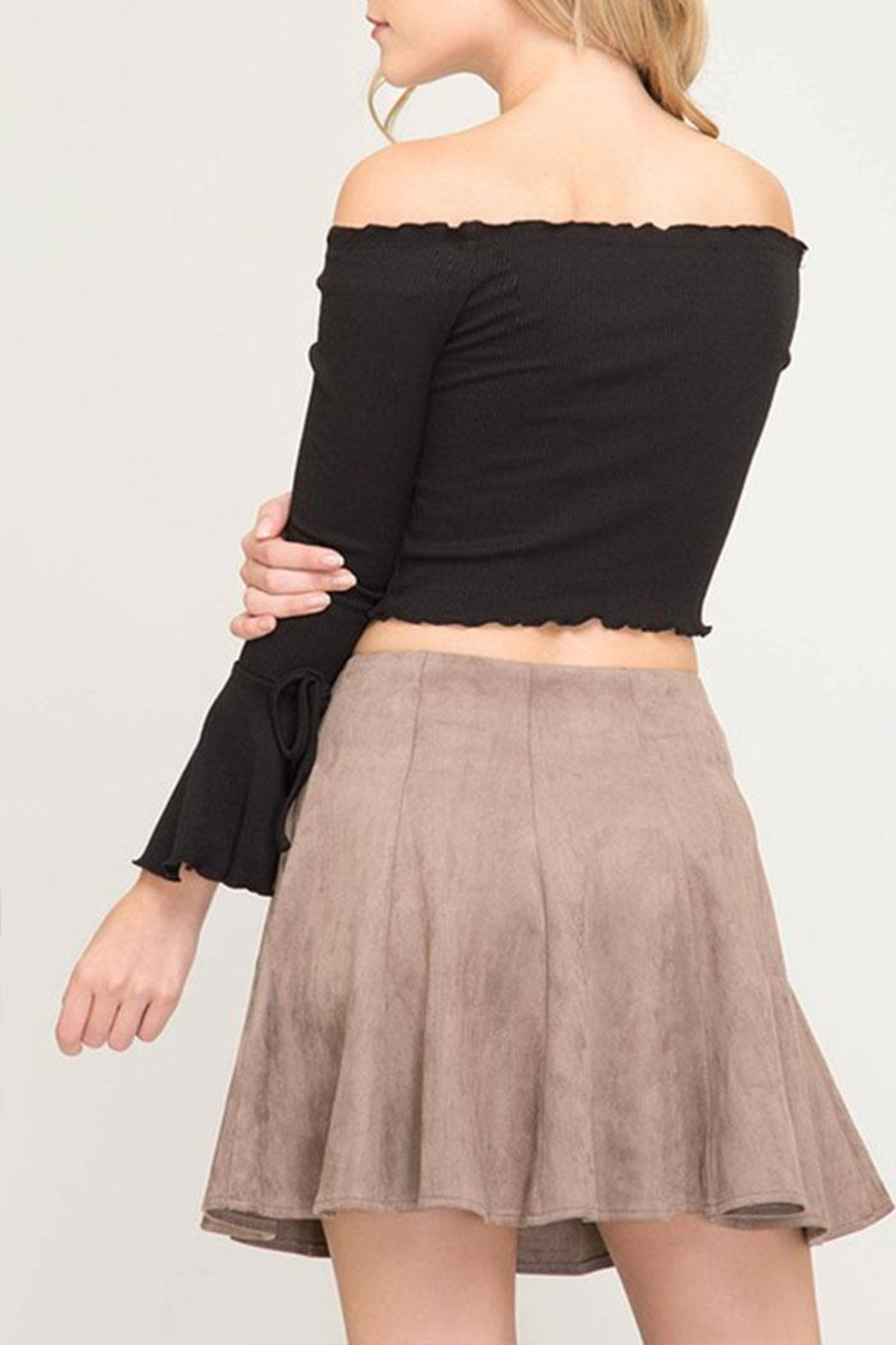 She + Sky Faux Suede Flare-Skirt - Front Full Image