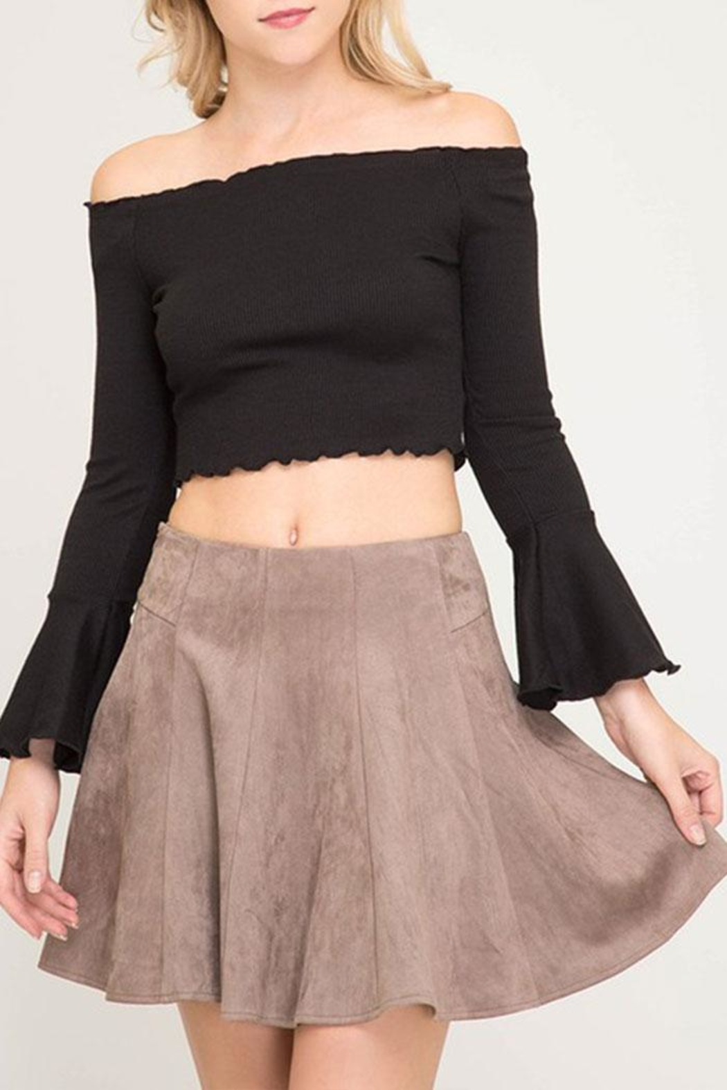 She + Sky Faux Suede Flare-Skirt - Front Cropped Image