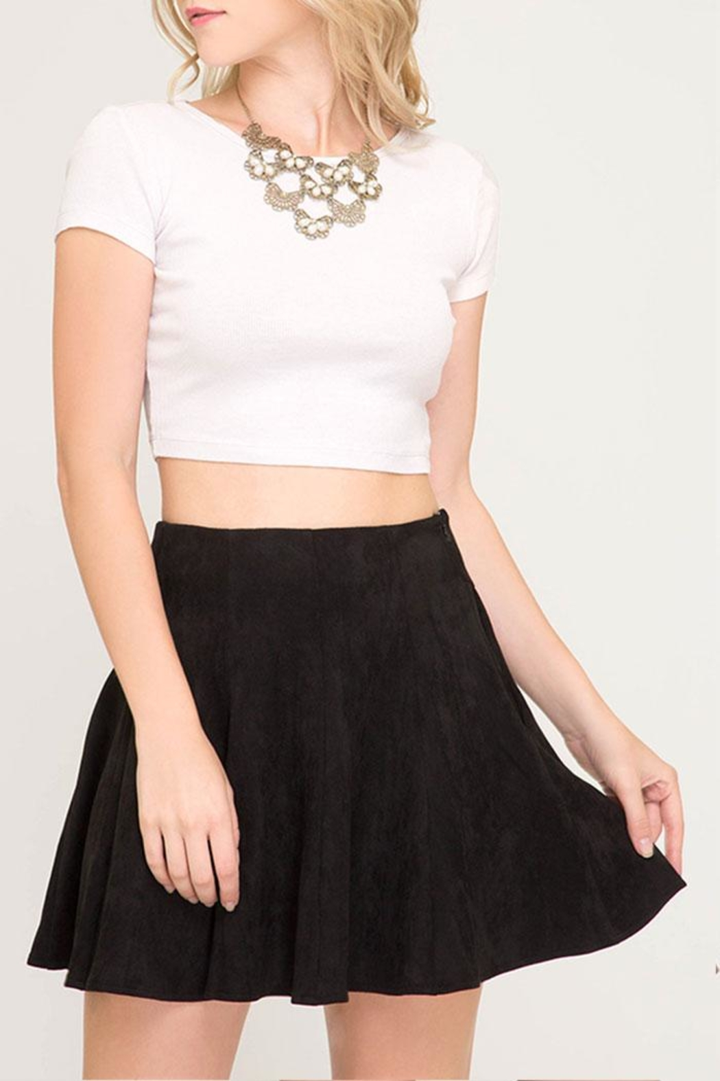 She + Sky Faux Suede Flare-Skirt - Main Image