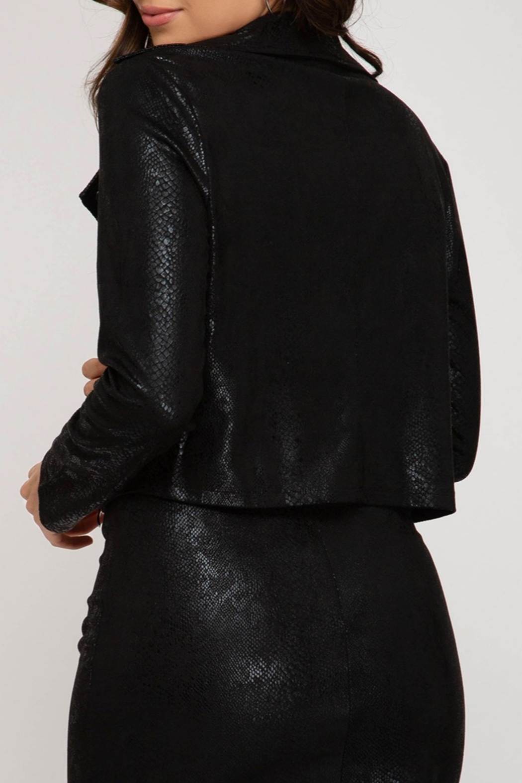 She and Sky Faux Suede Jacket - Front Full Image