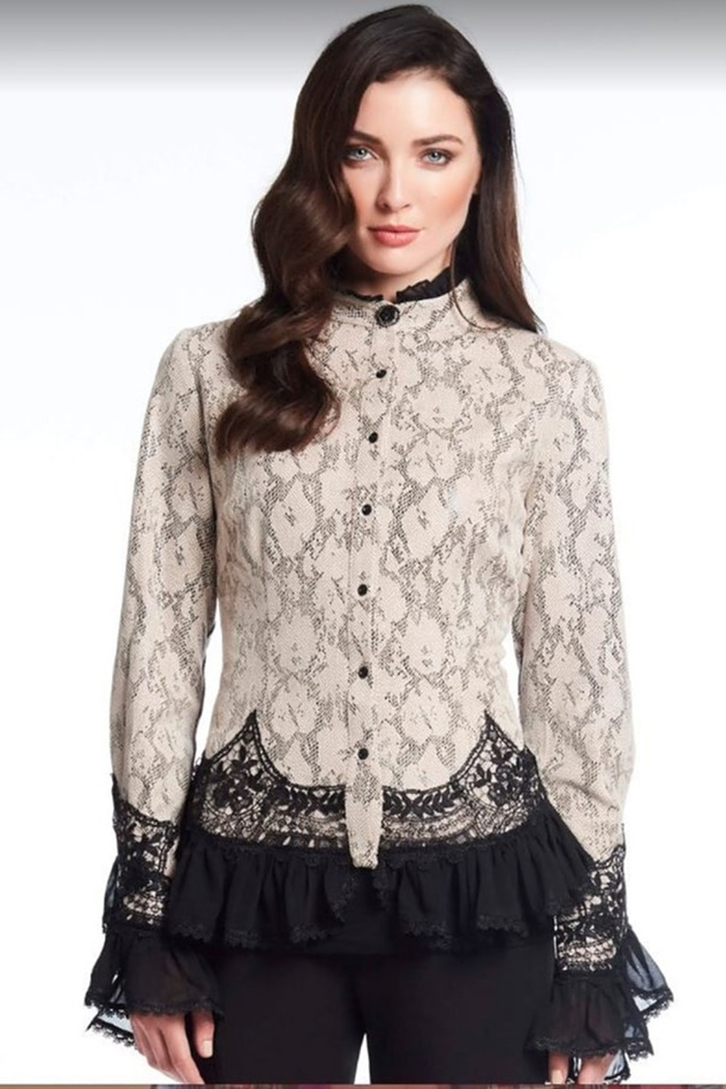 Alberto Makali Faux Suede Lace Blouse - Main Image