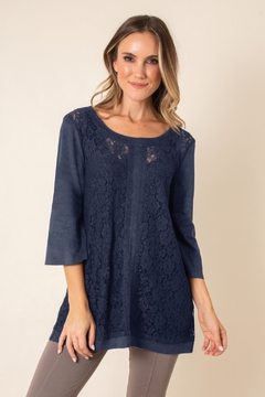 Simply Noelle Faux Suede & Lace Top - Product List Image