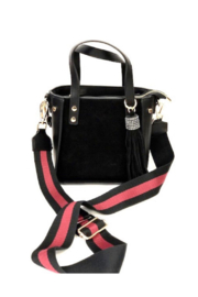 INZI Faux Suede Mini Satchel Tote with Adjustable Decorative Strap - Front cropped
