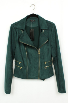 Olivaceous  Faux Suede Moto Jacket - Product List Image