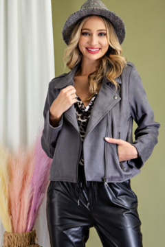 eesome Faux Suede Moto Jacket - Product List Image