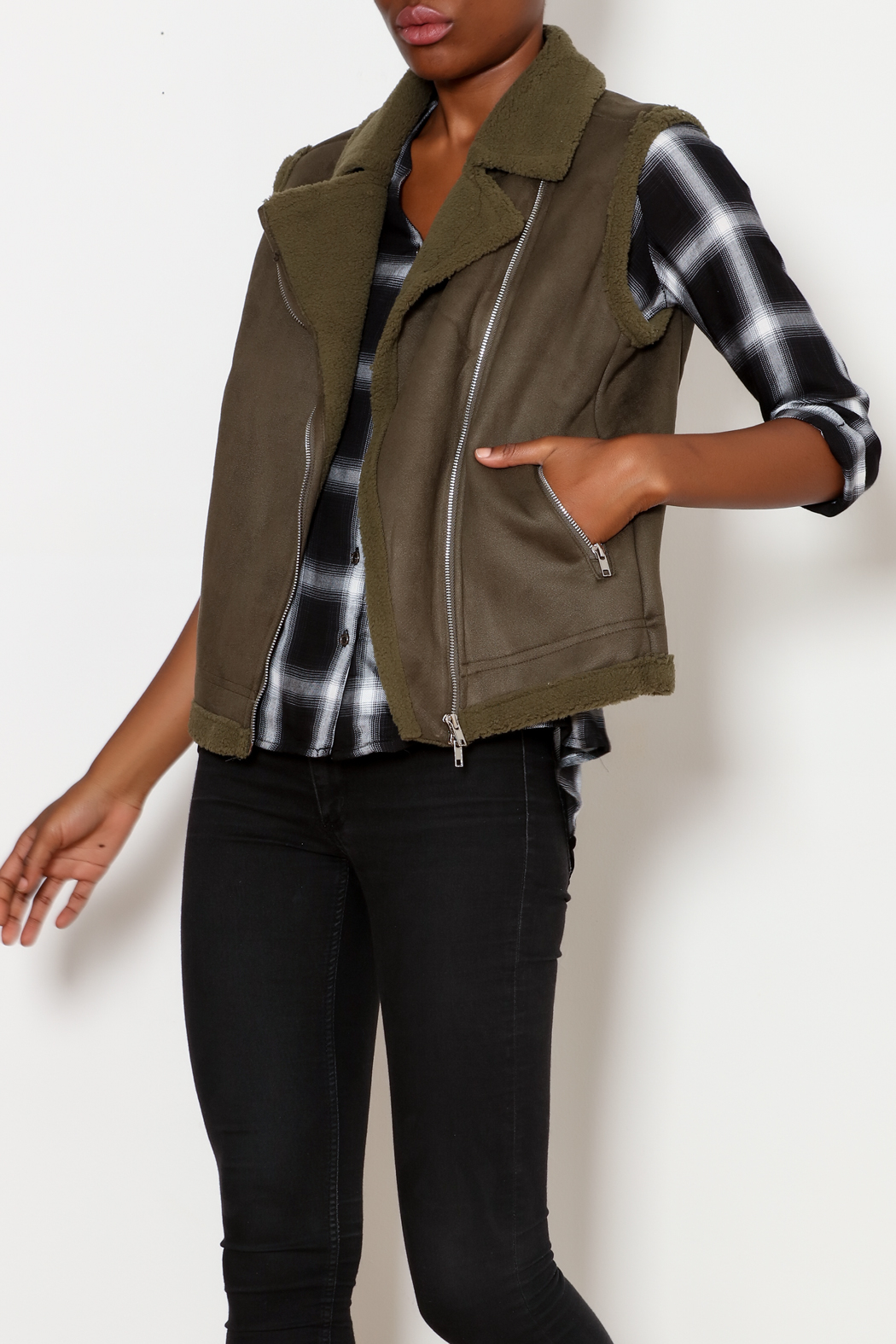Skies Are Blue Faux Suede Moto Vest - Front Cropped Image