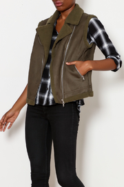 Skies Are Blue Faux Suede Moto Vest - Front cropped