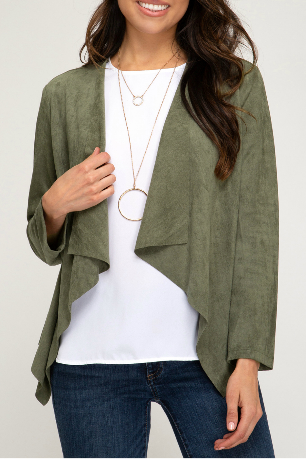 She + Sky FAUX SUEDE OPEN FRONT BLAZER - Front Cropped Image