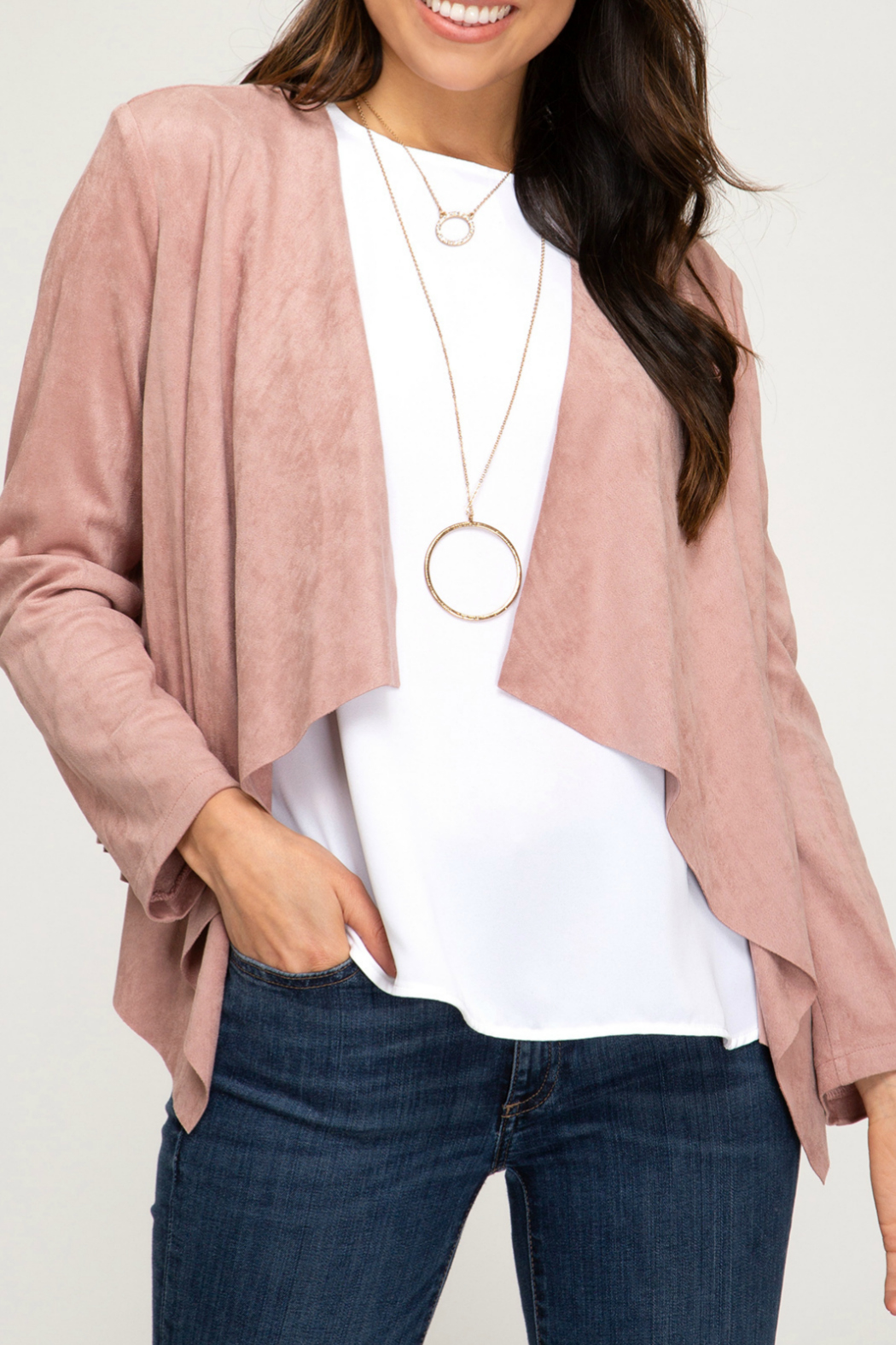 She + Sky FAUX SUEDE OPEN FRONT BLAZER - Main Image