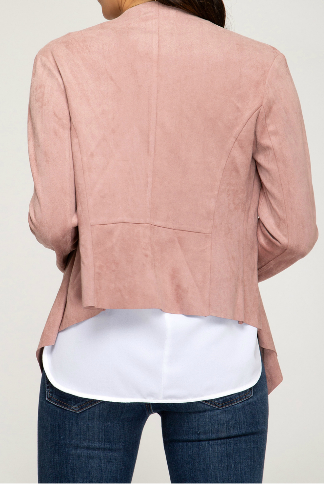 She + Sky FAUX SUEDE OPEN FRONT BLAZER - Front Full Image