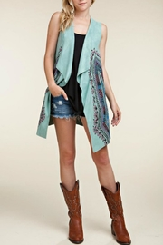 Vocal Apparel Faux-Suede Printed Vest - Product Mini Image