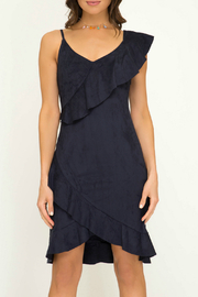 She + Sky Faux Suede Ruffle Detail Dress - Product Mini Image