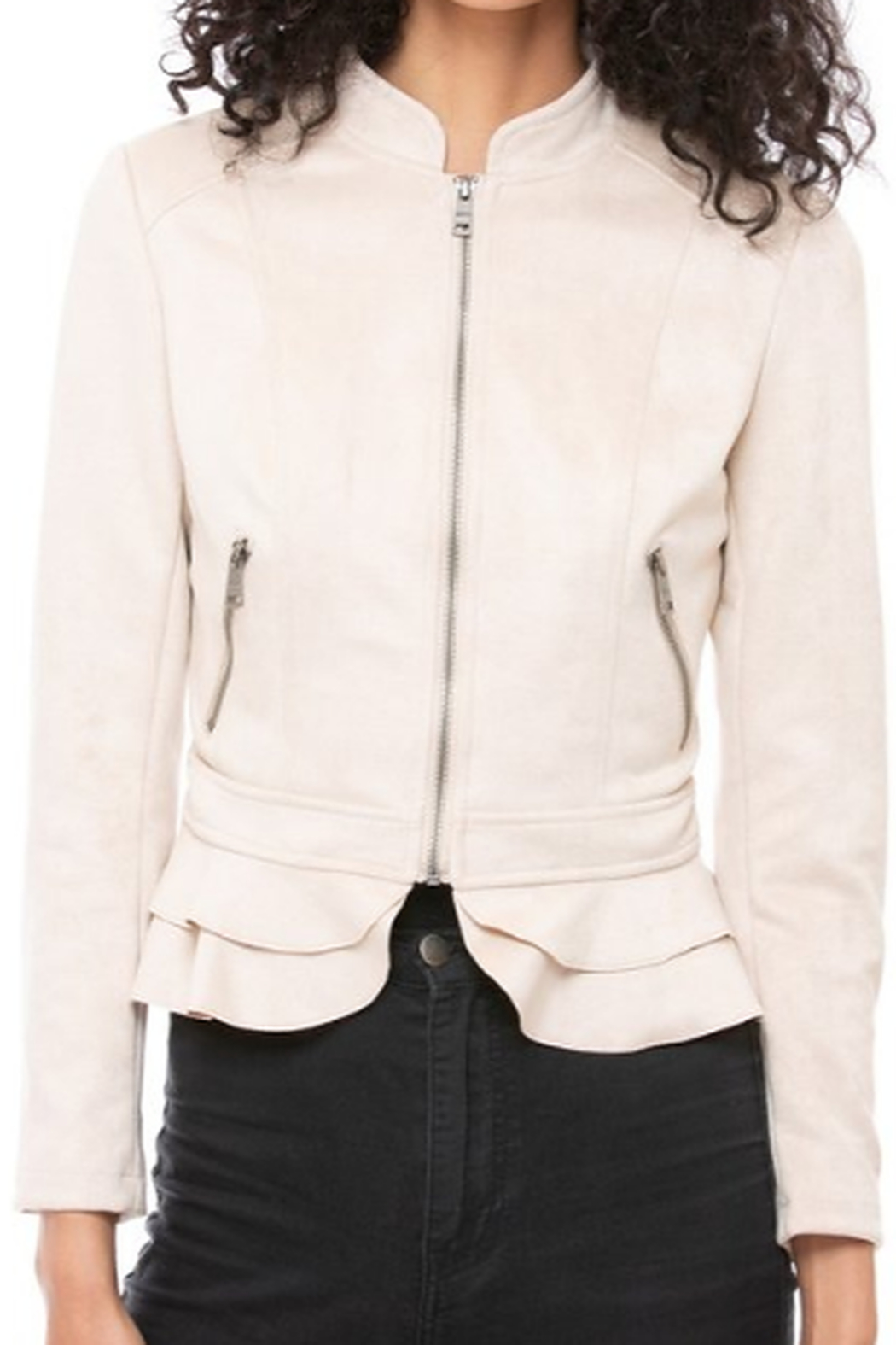 LA Coalition Faux Suede Ruffle Hem Jacket - Side Cropped Image