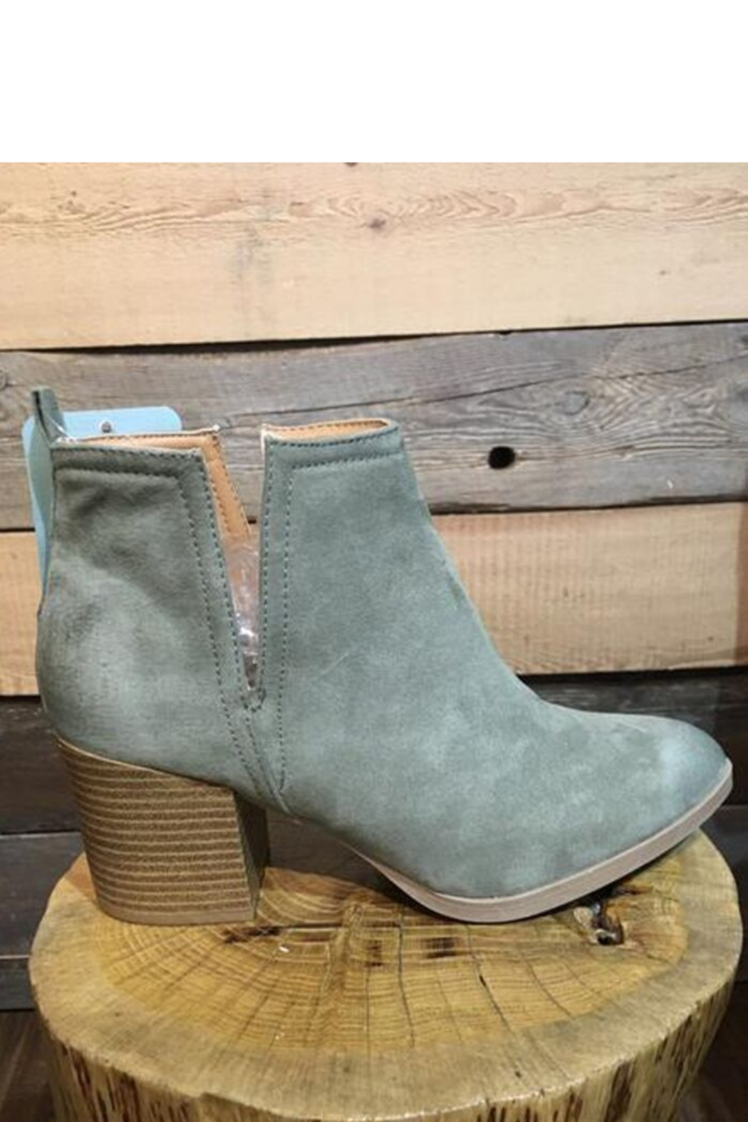 Qupid Faux Suede Sage Bootie - Front Full Image