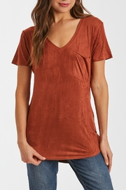 Another Love Faux-Suede Short Sleeve V-Neck Tee - Product Mini Image