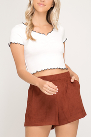 She & Sky  Faux Suede shorts - Product Mini Image