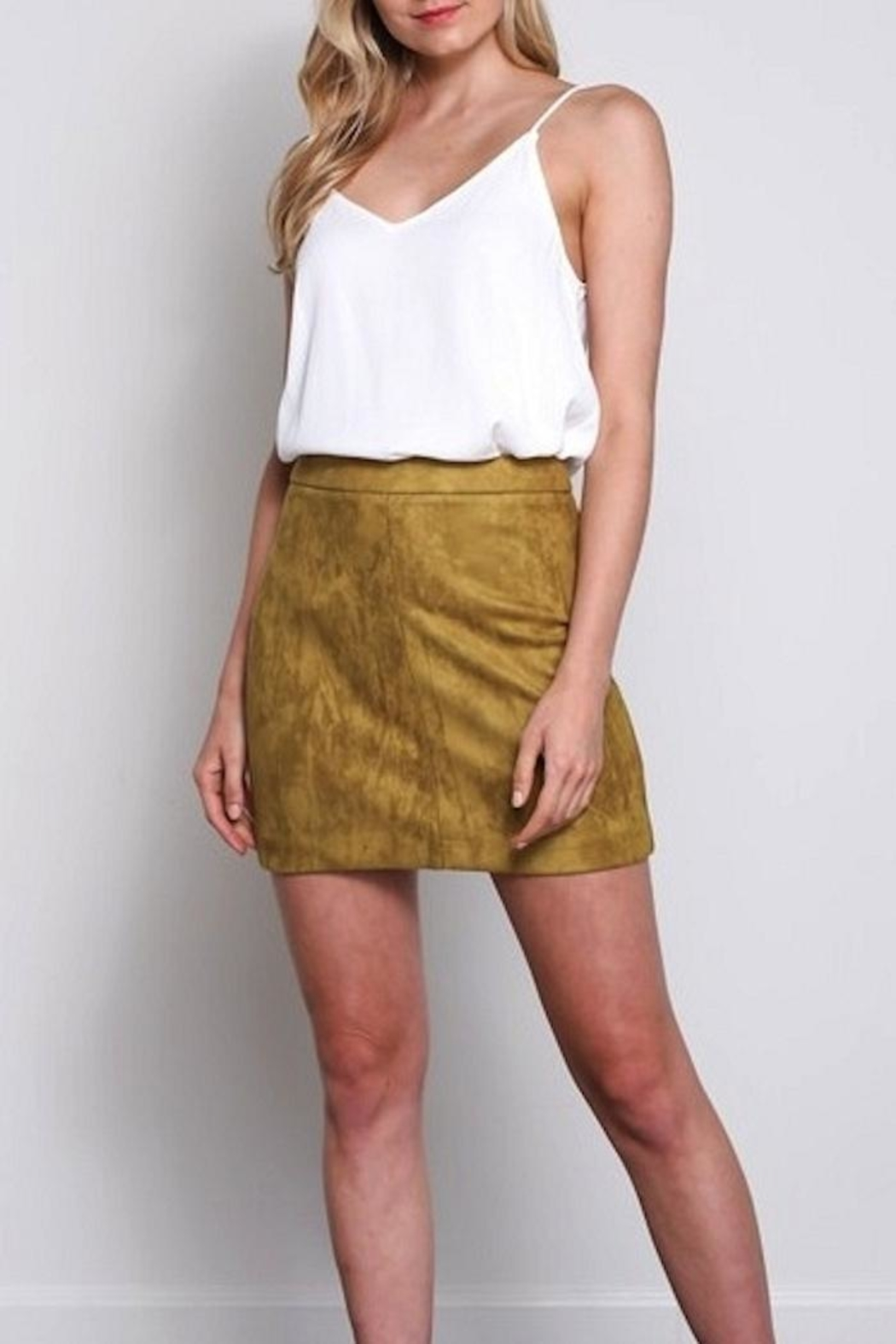 Olivaceous Faux Suede Skirt - Main Image
