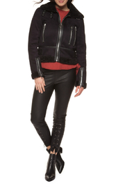 Black Tape/Dex Faux Suede/Textured Moto Jacket - Product Mini Image