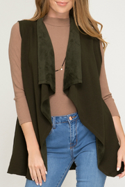 She + Sky Faux Suede Vest w Raw Edge - Product Mini Image