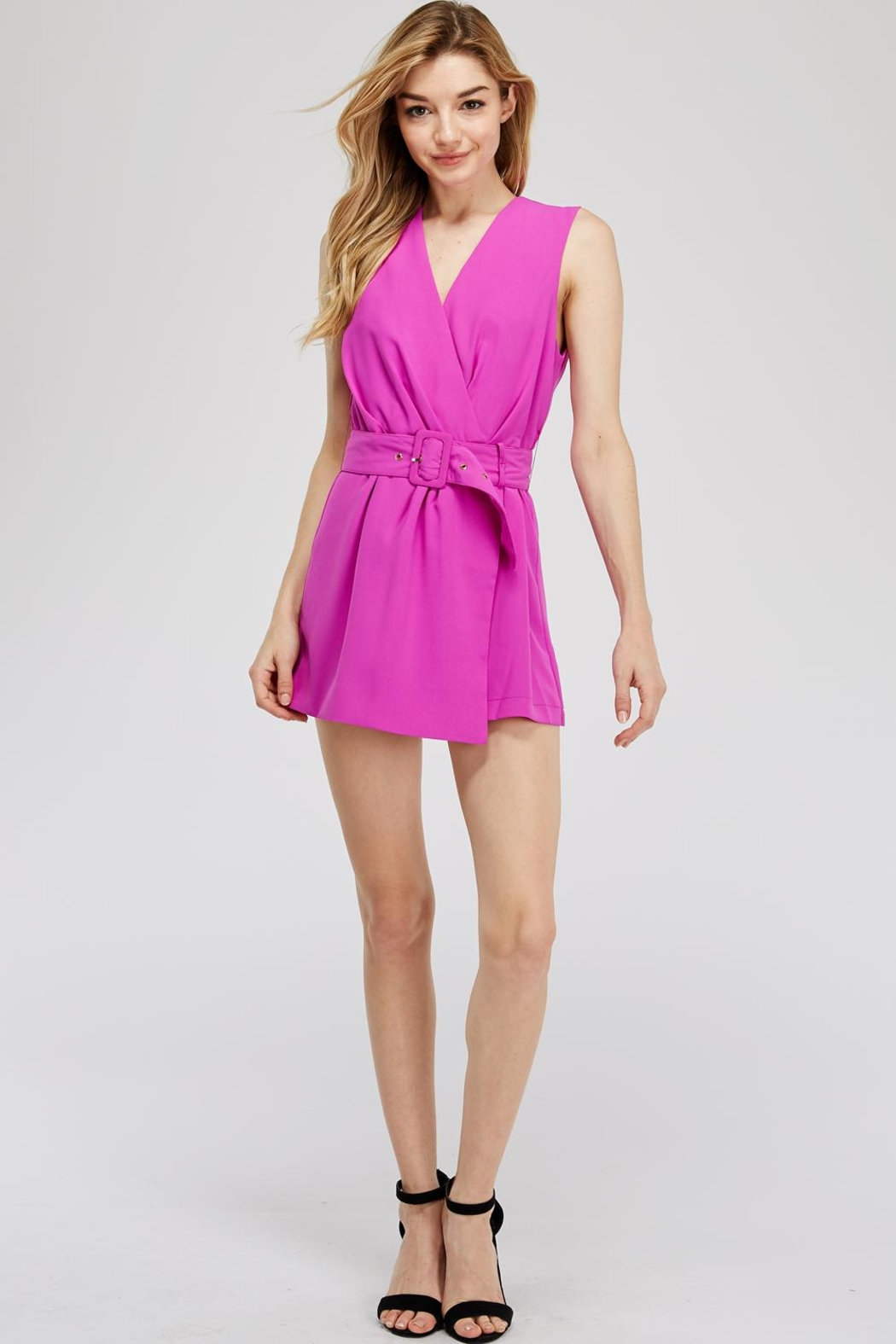 Do & Be Faux-Wrap Belted Romper - Main Image