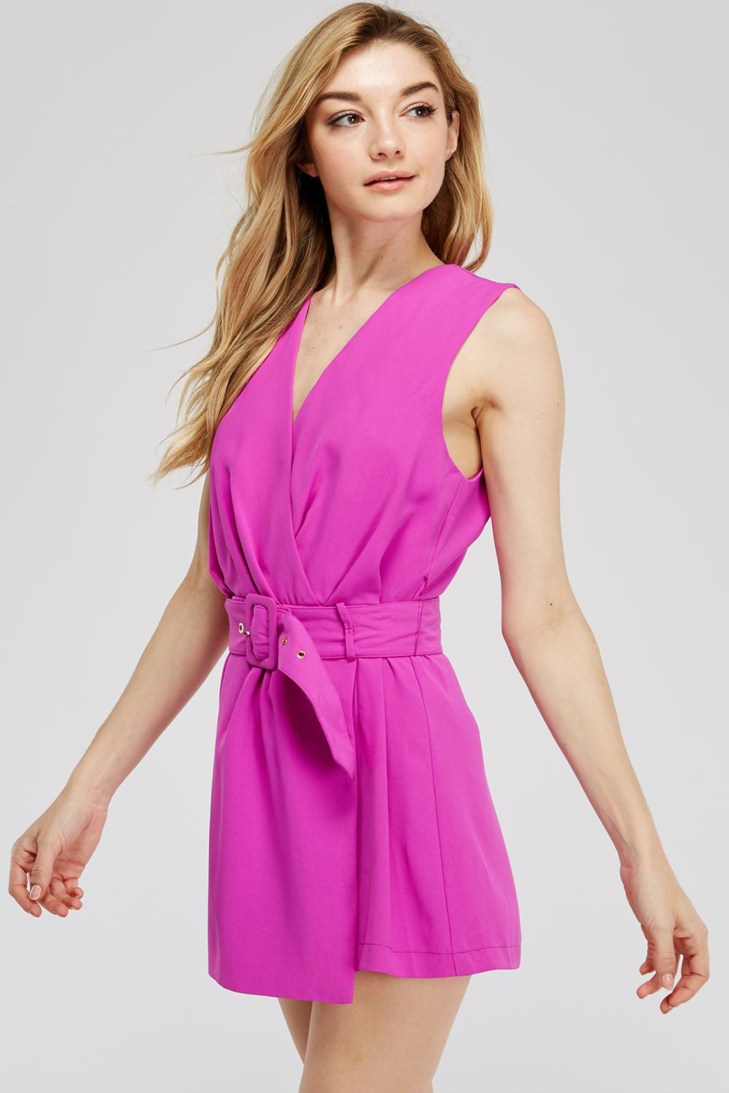 Do & Be Faux-Wrap Belted Romper - Front Full Image