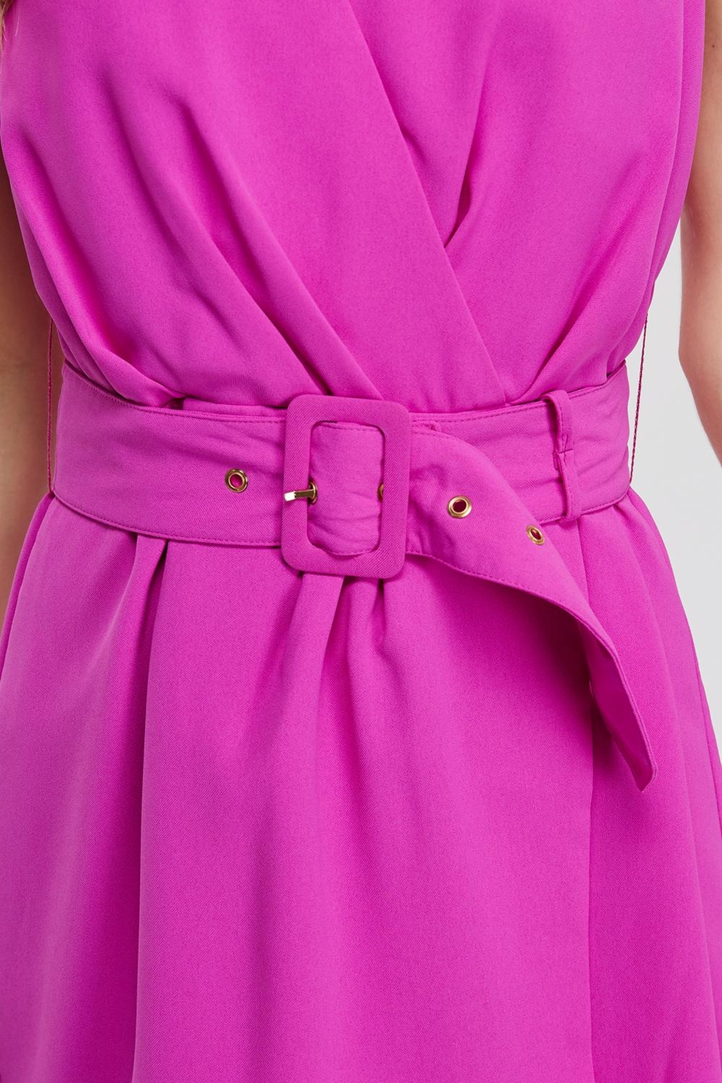 Do & Be Faux-Wrap Belted Romper - Back Cropped Image