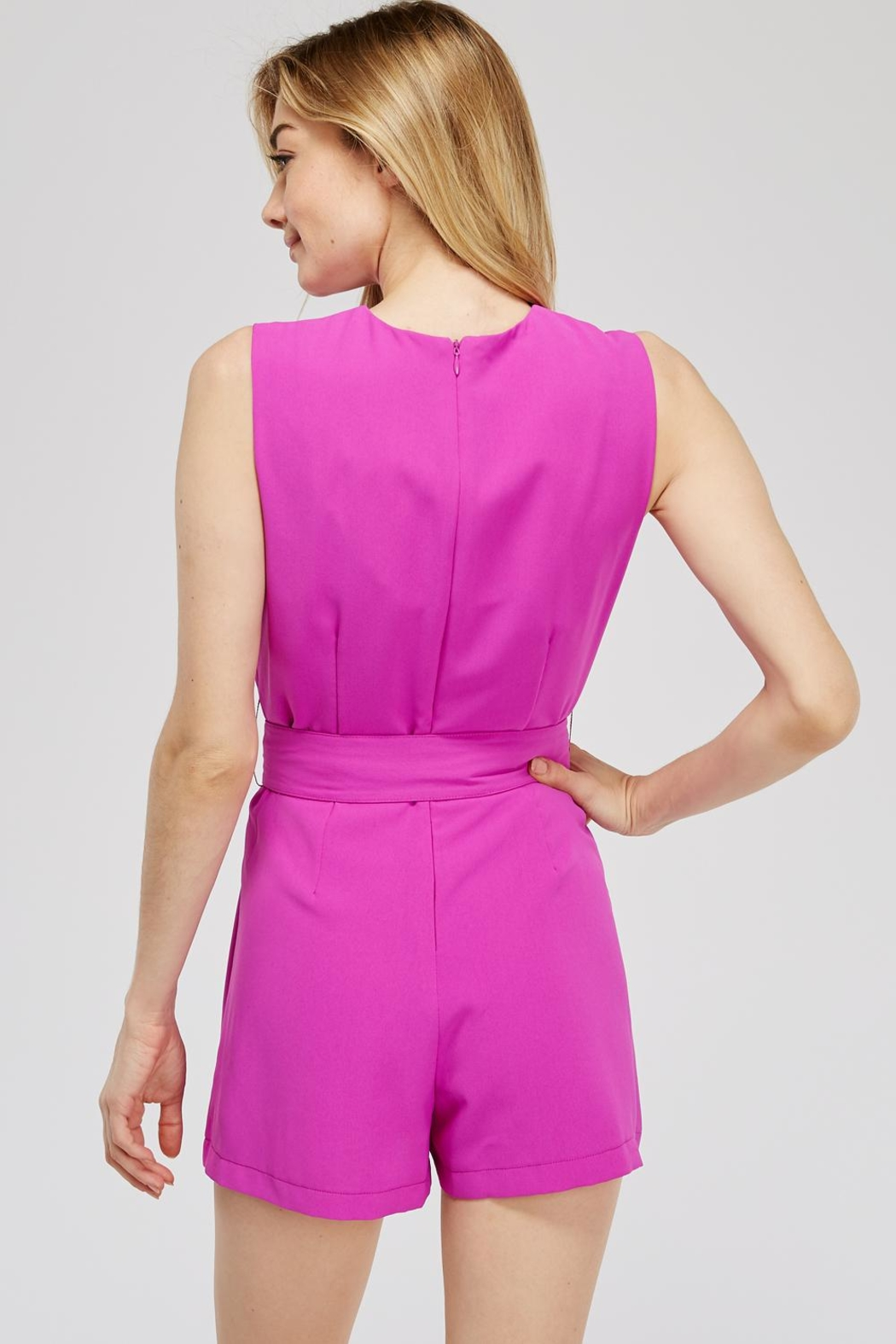 Do & Be Faux-Wrap Belted Romper - Side Cropped Image