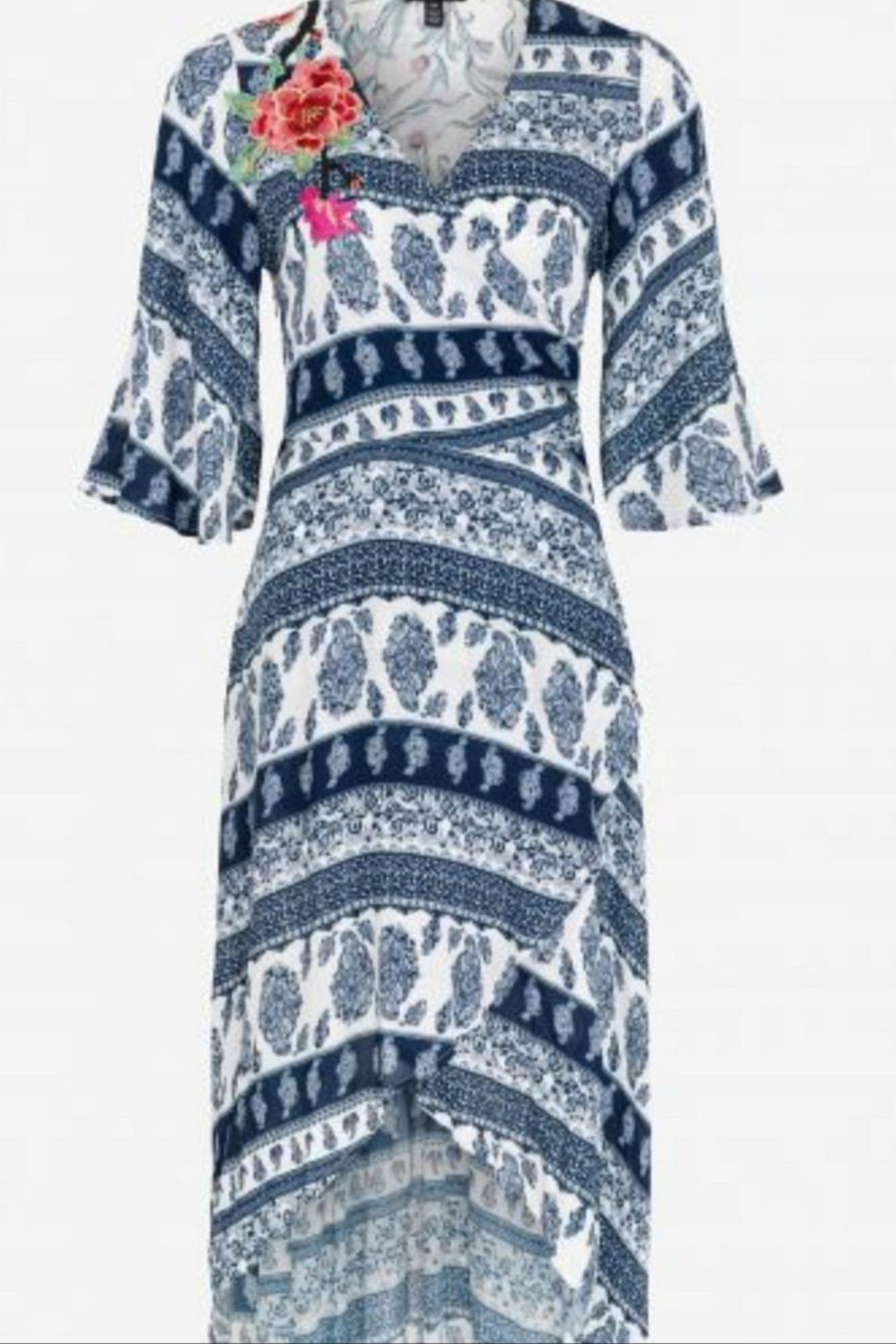 Tribal Faux-Wrap Dress - Front Full Image