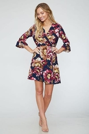 Peach Love Faux  Wrap Floral  Dress - Product Mini Image