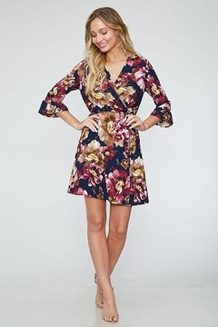 Peach Love Faux  Wrap Floral  Dress - Product List Image