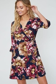 Peach Love Faux  Wrap Floral  Dress - Front full body