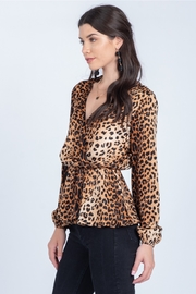 Everly Faux Wrap Leopard Top - Product Mini Image