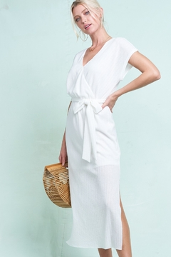 LA MIEL  Faux Wrap Ribbed Midi Dress - Alternate List Image