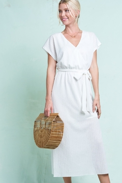 LA MIEL  Faux Wrap Ribbed Midi Dress - Product List Image