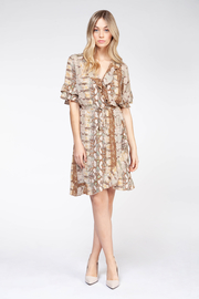 Dex Clothing Faux Wrap S/S Ruffle Snake Print Dress - Product Mini Image