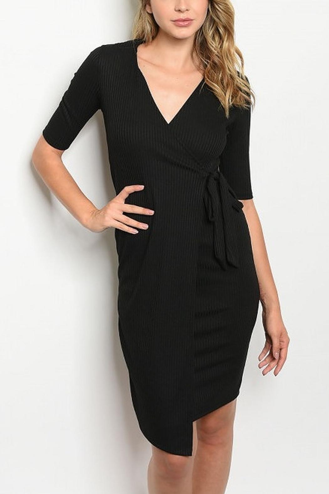 Lyn -Maree's Faux Wrap Sweater Dress - Front Cropped Image