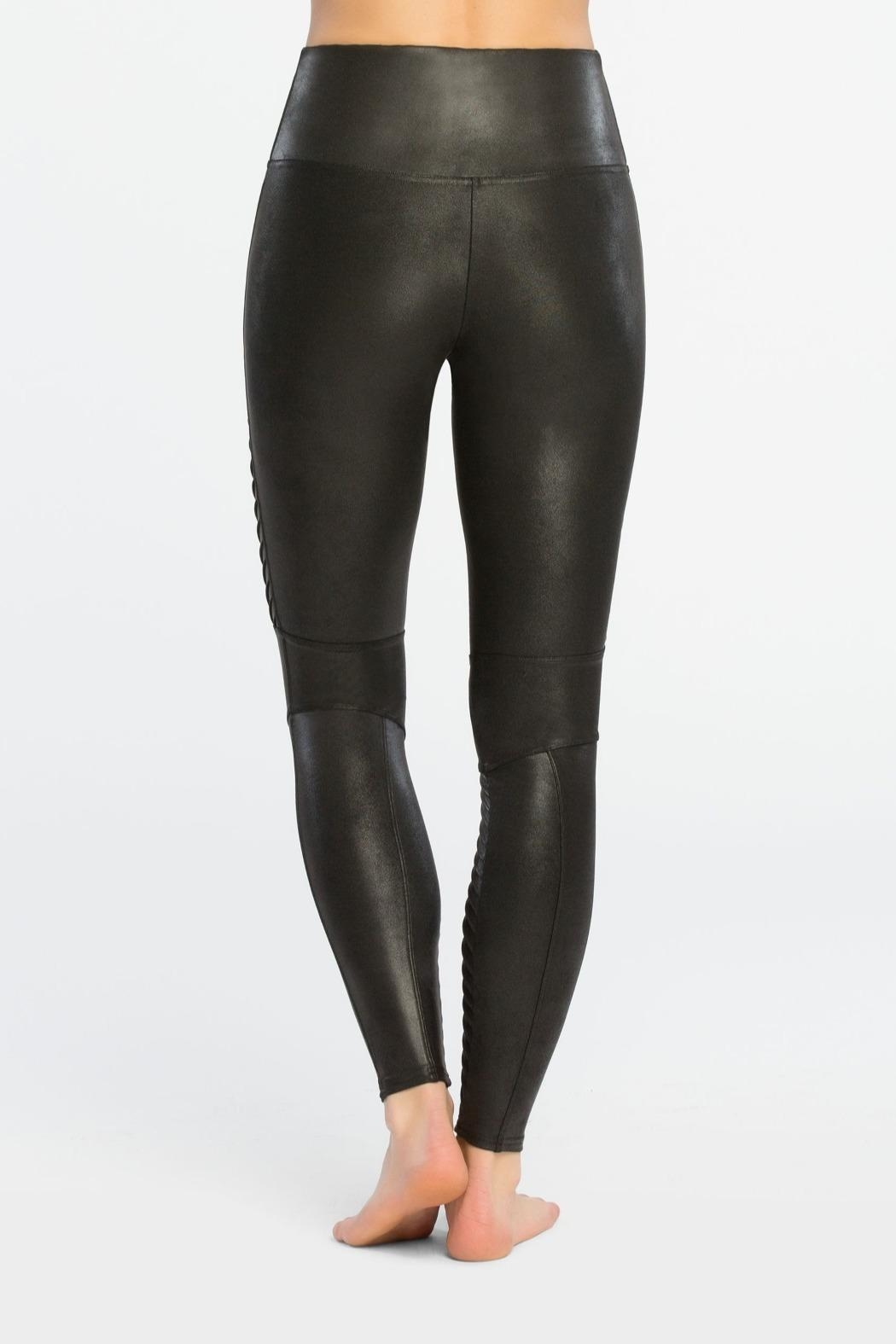 Spanx Fauxleather Moto Leggings - Side Cropped Image