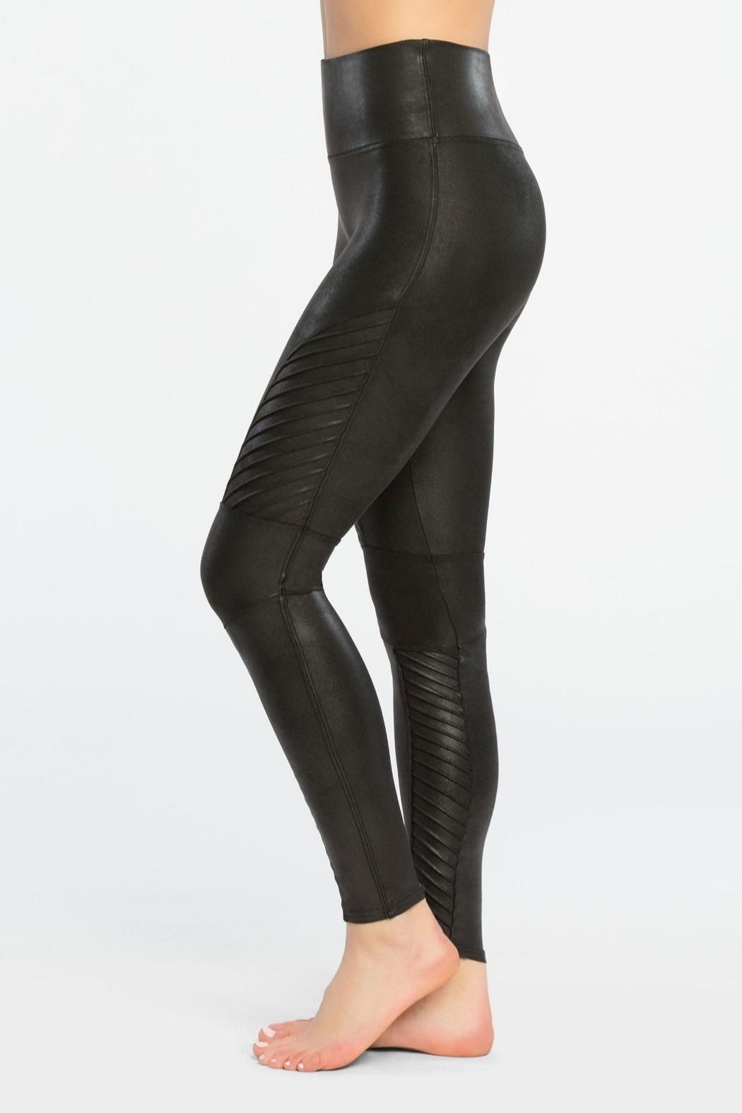 Spanx Fauxleather Moto Leggings - Front Cropped Image