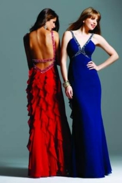 Faviana Low Back Ruffle Gown - Alternate List Image
