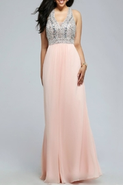 Faviana Halter Chiffon Sequin Dress - Front cropped