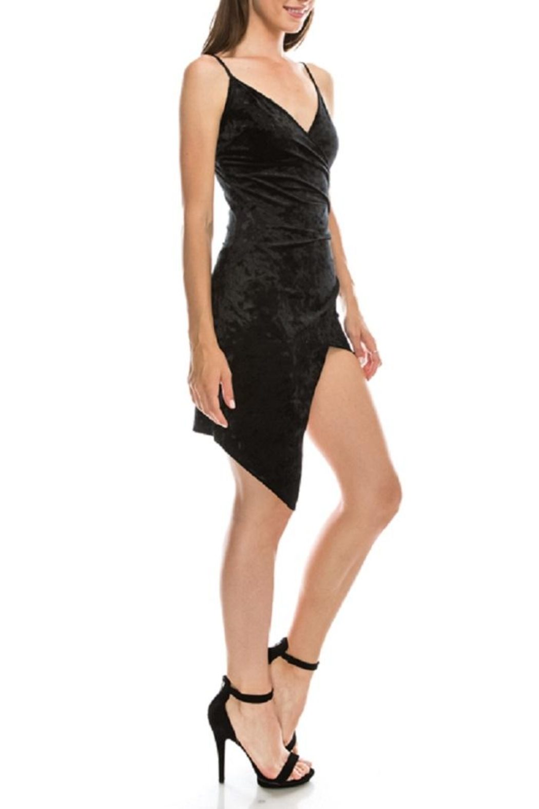 Favlux Black Asymmetrical Dress - Front Full Image