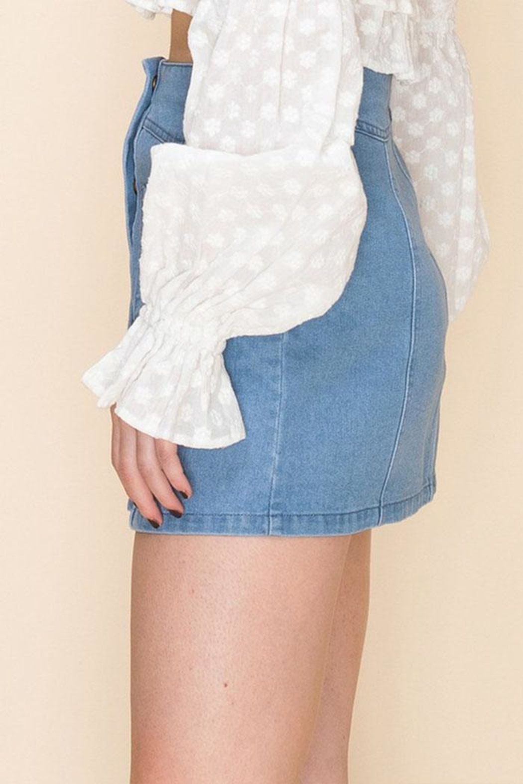 Favlux Button-Up Mini Skirt - Front Full Image