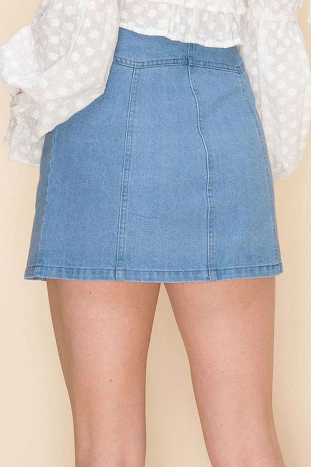 Favlux Button-Up Mini Skirt - Side Cropped Image